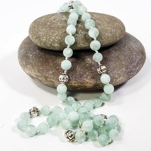 Green Moonstone Hand-Knotted Necklace